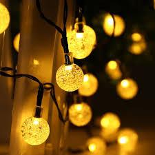 halloween light bulbs amazon com qedertek globe outdoor solar string lights 20ft 30 led