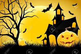 halloween background cat and pumpkin halloween background with pumpkin in grass house tree and moon