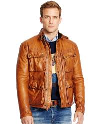 men s bike jackets polo ralph lauren southbury leather bike jacket in brown for men