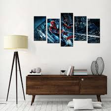 5 panel wall art the amazing spider man hd printed home decor