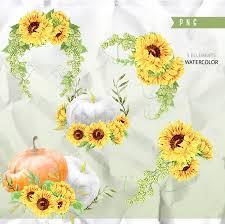 Wedding Greeting Card Helloween Sunflowers Watercolor Clipart Sunflowers Sunbeams