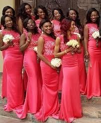 new coral long mermaid bridesmaid dresses 2016 cheap jewel satin