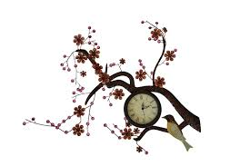 Decorative Metal Wall Clocks Hanging Branch Bird Decorative Metal Wall Clock With Flowers