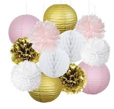 set of 12 pink gold party decoration kit tissue paper pom pom