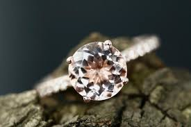 Promise Engagement And Wedding Ring Set by Cady 8mm Round Cut Morganite 14k Rose Gold Diamond Engagement Ring