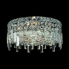 Crystal Flush Mount Lighting Shop Elegant Lighting Maxim 16 In W Chrome Crystal Flush Mount