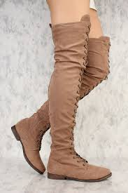 s boots taupe taupe front lace up toe thigh high flat boots faux suede