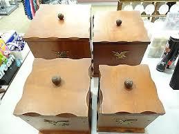 wooden kitchen canister sets vintage mid century wood kitchen canister set and liners w eagles