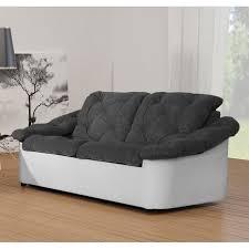 canap fixe 2 places tissu scala canapé tissu et simili 2 places 171x94x83 cm gris et blanc