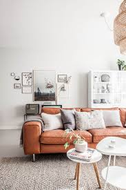 Living Room With Orange Sofa Light Living Room With Leather Sofa Home Pinterest
