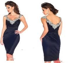 navy blue cocktail dresses 2015 luxury crystal beaded mini