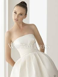 plain strapless wedding dress triangle hourglass pleated tea length strapless white