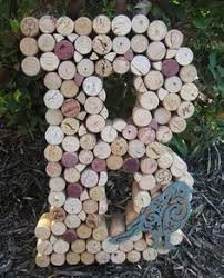 whimsical wine cork monogram letter initial home decor mantle or