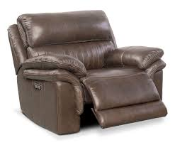 Chestnut Leather Sofa Monterey Power Recliner Brown Value City Furniture