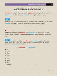 synonyms and antonyms 002 quiz 1