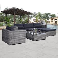 Amazoncom  Giantex Pc Patio Sofa Furniture Set Pe Rattan Couch - Outdoor aluminum furniture