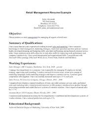retail resume exles retail resume objective manager resume objective exles sle