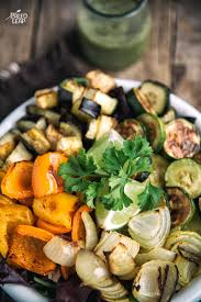 Roasted Vegetable Recipes by Roasted Vegetable Salad With Cilantro Dressing Paleo Leap