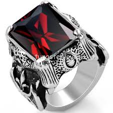 red silver rings images Buy vintage style stainless steel red cz rings jpg