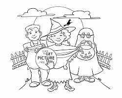 Kids Coloring Pages Halloween by Kids And Trick Or Treat Bag Coloring Pages For Kids Halloween
