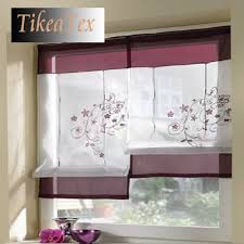 Pink Kitchen Blinds 1pc Sales Embroider Voile Curtains Short Curtains For Kitchen