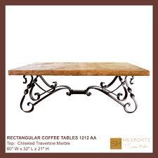 010 rectangular coffee table chocolate iron base mesquite free