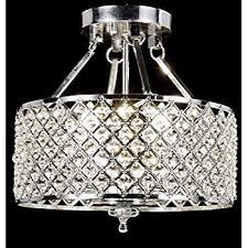 crystal semi flush mount lighting life 4 light chrome finish round metal shade crystal