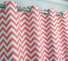 Coral And Turquoise Curtains Coral And White Chevron Zig Zag Drape With Blackout