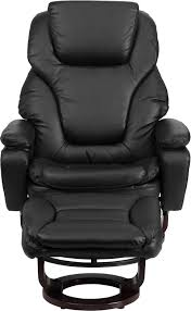 Black Leather Recliner Contemporary Black Leather Recliner And Ottoman With Swiveling