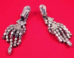 clip on chandelier earrings vintage 60s rhinestone clip on chandelier earrings