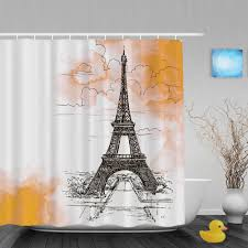 Eiffel Tower Window Curtains by Eiffel Tower On Watercolor Bathroom Shower Curtains Beautiful