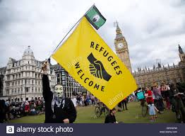Welcome Flag Parliament Square London Uk 4 July 2016 A Anarchist Flies A Flag