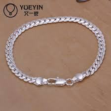 man silver link bracelet images Charm bracelets link chain silver plated bracelet for women men jpg