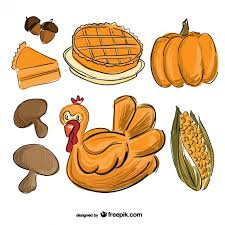thanksgiving food drawing vector free
