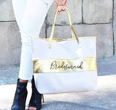 bridal party tote bags gold stripe bridal party tote bag bridesmaid tote bag