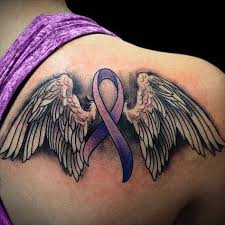 tattoos of cancer ribbons with wings tattoos