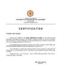 Sle Of Certification Letter Of Residence Sle Barangay Certification Letter 28 Images Letter For The
