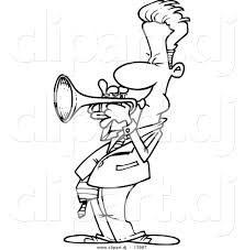 vector of cartoon male trumpet player coloring page outline by