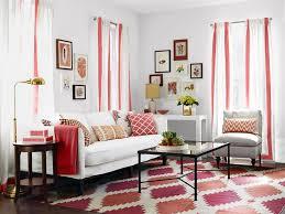 Red And White Curtains For Retro Living Room Interior Design Ideas