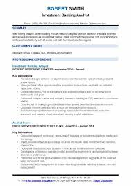 Credit Analyst Resume Objective Investment Banking Analyst Resume Samples Qwikresume