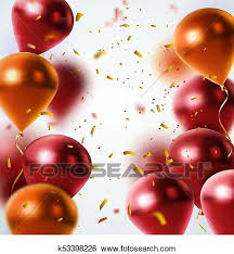 Clip Art of Shiny Balloons And Confetti Background k53398226