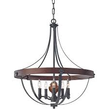 Chandelier Metal Feiss Alston 5 Light Charcoal Brick Acorn 1 Tier Chandelier F2794