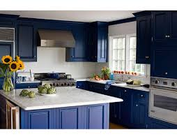 Blue And White Kitchen Cabinets Blue And White Kitchen Kitchen White Carrara Marble And Carrara