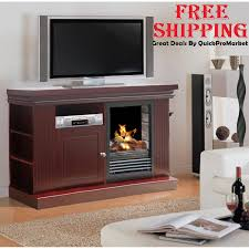 electric fireplace tv stand media console heater wood
