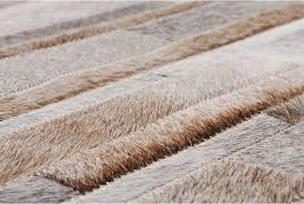 Hair On Hide Rug Gray Beige And White Stripes Design Patchwork Cowhide Rug Shine