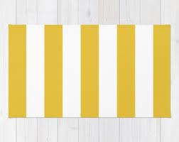 Orange And White Rugs Striped Rug Etsy