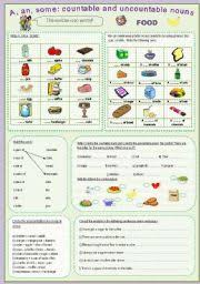 a an some countable and uncountable nouns food