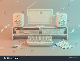 studio keyboard desk 3d model music recording studio on stock illustration 261088391