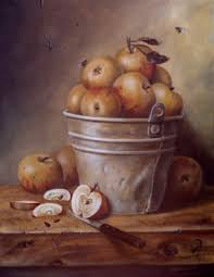 jeanne illenye still lifes country apple picking bucket rustic