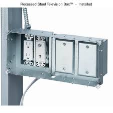 recessed tv box for power and low voltage multimedia connections